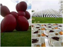 From left to right: Paul McCarthy's Balloon Dog, 2013 sculpture at the Northern Entrance of the tent, Fair Structure Design by SO-IL Architects, Frieze Sponsored Artist Curated Meals (Worst Ever goes to Matthew Day Jackson who should stick to art)